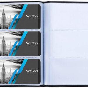 MaxGear Business Card Organizer Business Card Holder Book, Portable Business Card Binder File Sleeve Storage, Business Card Holders, Name Card Holder for Men & Women, Capacity: 240 Cards, Black