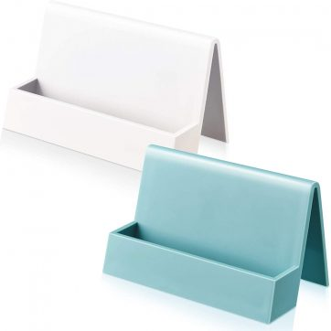 2 Pieces Business Card Holder for Desk Modern Plastic Name Card Case Display Stand Tabletop Business Card