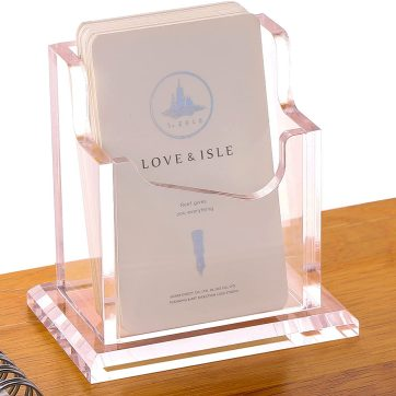 SANRUI Business Card Holder for Desk, Clear Acrylic Business Card Display Stand