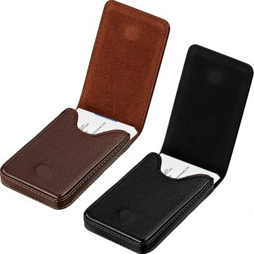 2 Pieces Business Card Holder, Business Card Wallet PU Leather